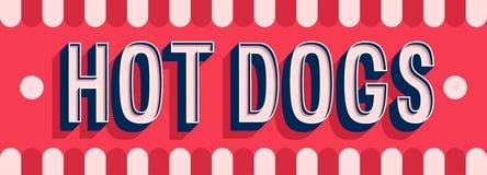 Conception typographique de bannière de hot-dogs illustration de vecteur