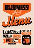 Conception typographique de menu de restaurant Affiche de déjeuner d'affaires de vintage Illustration de vecteur illustration libre de droits