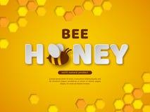 Conception typographique de miel d'abeille Le papier a coupé les lettres, le peigne et l'abeille de style Fond jaune, illustratio illustration libre de droits