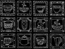 Conception unique de cadre de tasses et de pots de thé. Images stock
