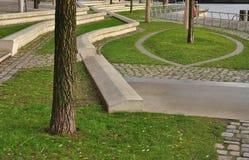 Conception urbaine de bord de mer, port de Hambourg de remblai, Allemagne images libres de droits