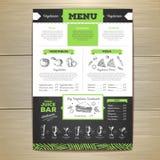 Conception végétarienne de menu de nourriture de dessin de craie Images libres de droits