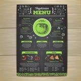 Conception végétarienne de menu de nourriture de dessin de craie Photographie stock