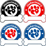 Conception vétérinaire de labels de cercle avec amour Paw Dog Positionnement de ramassage Image stock