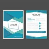 Conception vert-bleu abstraite de calibre d'insecte de brochure de tract de vecteur de polygone, conception de disposition de cou Images libres de droits
