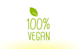 conception 100% verte d'icône de logo de concept des textes de feuille de vegan Photo libre de droits