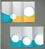 Conception verte de disposition de brochure de vecteur avec l'EL jaune Photo stock