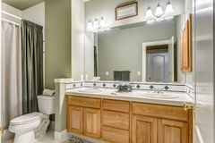 Conception verte de salle de bains dans une maison de campagne luxueuse images libres de droits
