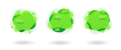 Conception verte naturelle d'Eco, bannières géométriques liquides image libre de droits