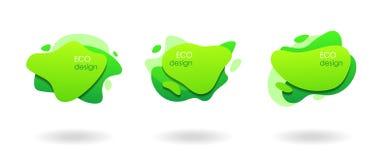 Conception verte naturelle organique, bannières géométriques liquides photos libres de droits