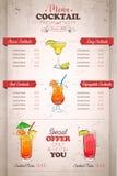 Conception verticale de dessin de menu de cocktail de couleur illustration de vecteur
