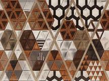 Conception wallTile de Digital, construction de grille de trellis du brun 3D avec les bords ens ivoire sur le fond de marbre Chên illustration de vecteur