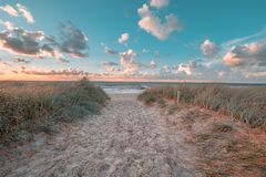 Entry a beach on baltic sea stock images