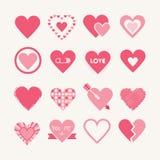 Conceptions assorties des icônes roses de coeurs réglées Photo stock