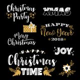 Conceptions de lettrage de Noël et de nouvelle année Éléments de vecteur Images stock