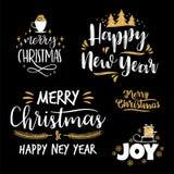 Conceptions de lettrage de Noël et de nouvelle année Éléments de vecteur Photographie stock