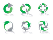 Conceptions de réutilisation vertes et grises de logo de vecteur Photographie stock