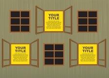 Conceptions en bois de disposition de fenêtre Photo libre de droits