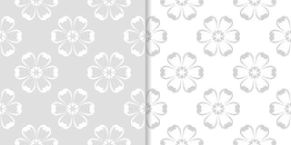 Conceptions florales gris-clair d'ornamental Ensemble de configurations sans joint Images libres de droits