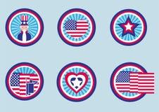 Conceptions graphiques assorties pour des labels des USA Pictogramme/style plat de conception Photographie stock