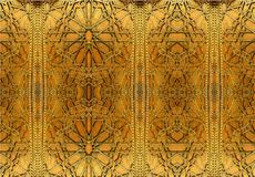 Conceptions orientales et ornements de fer La peinture dépeint les modèles orientaux sur la porte de fer images stock