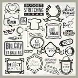 Conceptions prêtes de signe de vinyle, en-têtes et positionnement d'étiquettes Photo stock