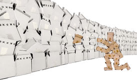 Concepto único con la pared del rectángulo y el hombre del rectángulo Fotografía de archivo libre de regalías