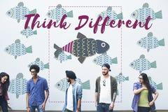 Concepto único del gráfico de los pescados de la individualidad diverso Fotos de archivo libres de regalías