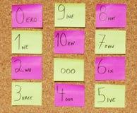 concepto 1 a 10 (del infinito) en una tarjeta del corcho Foto de archivo libre de regalías