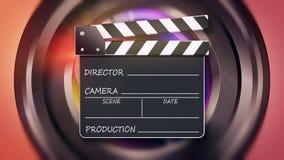 Concepto abierto de la cinematografía del tablero de chapaleta de la película Imagen de archivo