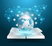 Concepto abierto de las ideas del conocimiento del libro y del globo del vector Imágenes de archivo libres de regalías