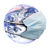 Concepto abstracto de la alegoría con la máscara de la tierra y de la gripe stock de ilustración