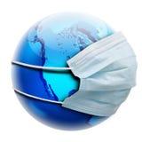 Concepto abstracto de la alegoría con la máscara del globo y de la gripe Imágenes de archivo libres de regalías