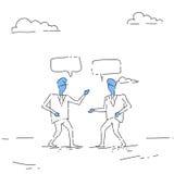 Concepto abstracto de la comunicación de la burbuja de Talking Chat Box del hombre de negocios dos, hombre de negocios Imagen de archivo libre de regalías