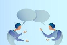 Concepto abstracto de la comunicación de la burbuja de Talking Chat Box del hombre de negocios dos, hombre de negocios Imagen de archivo