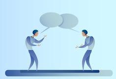 Concepto abstracto de la comunicación de la burbuja de Talking Chat Box del hombre de negocios dos, hombre de negocios Foto de archivo