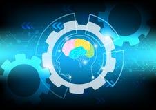 Concepto abstracto de la onda cerebral en tecnología azul del fondo Imagen de archivo