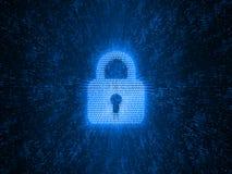 Concepto abstracto de seguridad global de Internet La cerradura de cojín de Digitaces creada por números binarios en puntos del r ilustración del vector