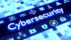 Concepto abstracto del cybersecurity en azul con los iconos stock de ilustración