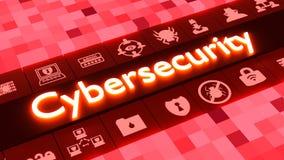 Concepto abstracto del cybersecurity en rojo con los iconos imagenes de archivo