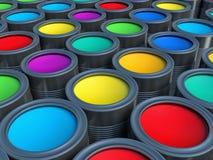 Concepto abstracto Grupo de latas del metal de la lata con el tinte de la pintura del color Foto de archivo libre de regalías