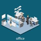 Concepto abstracto isométrico plano de los departamentos interiores del piso de la oficina 3d stock de ilustración