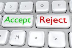 Concepto acepte/del rechazo Imagen de archivo libre de regalías