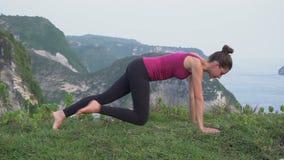Concepto activo sano de la forma de vida Entrenamiento de la mujer en la naturaleza Mañana gimnástica almacen de video