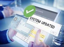 Concepto actualizado sistema de la nueva versión del cambio de la mejora imagen de archivo