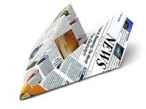 Concepto adicional de las noticias Periódico como aeroplano de papel stock de ilustración