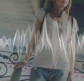 Concepto adolescente audio del ritmo de la música del monopatín Foto de archivo libre de regalías