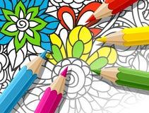 Concepto adulto del colorante con los lápices, impresos Foto de archivo