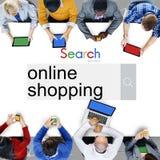 Concepto al por menor de compra comercial de las compras en línea imagen de archivo