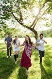 Concepto alegre del parque de los amigos indios Fotografía de archivo libre de regalías